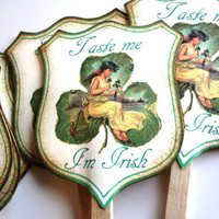 St Patrick's Day Cupcake Toppers,  Funny St Patrick's Day Party Decoration, Set of 12 by Istriadesign