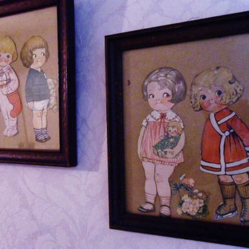 Original 1916 Two Framed Pairs Dolly Dingle by owlsongvintage
