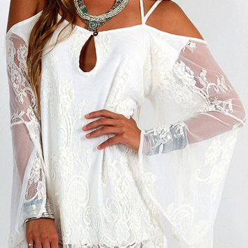 White Lace Strapless Backless Hollow-out Sun-protective Mini Dress