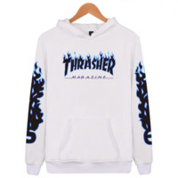 """Thrasher"" flame pattern loose hooded sweater long-sleeved skateboard"