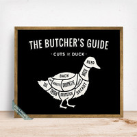 Duck Butchers Guide Print, Cuts Of Duck, Duck Poster, Kitchen Decor, Duck Cuts, Butcher Print, Duck, Wall Decor, Fathers Day Gift