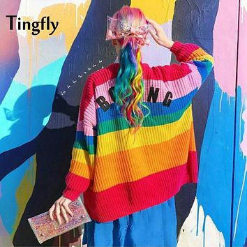 Tingfly 2017 Autumn New Rainbow Striped Women Sweater Cardigan Love Embroidery Letter BORING Paste Lazy Loose Knitted Tumblr
