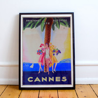 Cannes, France 1930s Vintage Travel Poster High Quality Print