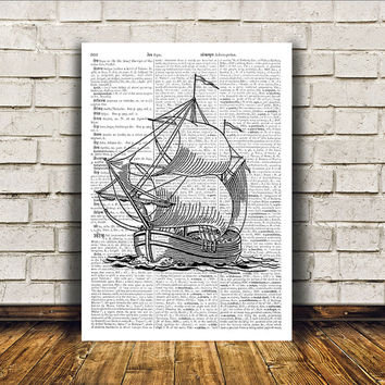 Nautical art Modern decor Ship poster Dictionary print RTA142