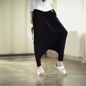 Women New 2016 Fashion Crotch Pants Wide Leg Cross Pants Dancing Paggy Pantskirt Bloomers Harem Casual Trousers