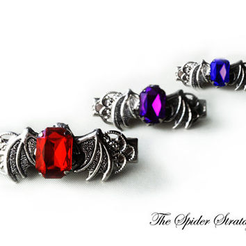 Gothic bat winged hair clips 'Victorian Bats'  halloween goth vampire blue purple ruby red
