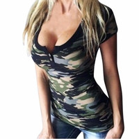 TShirt Feminina   Ladies T-shirt Women's Camouflage Short Sleeve Sexy Tops T-Shirts Casual Women's Tees Tops #23 BL