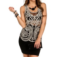 Black/Gold Crochet Sleeveless Tank Top