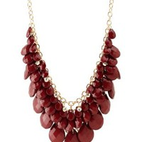 Faceted Bead Bib Necklace by Charlotte Russe - Oxblood