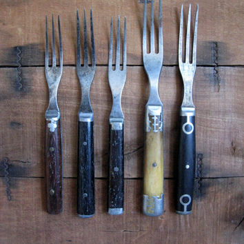 Civil War Era Forks, Group of 5 Three Tine Forks, Wood Bone Handle Fork, Wood Handle Forks, Civil War Reenactment
