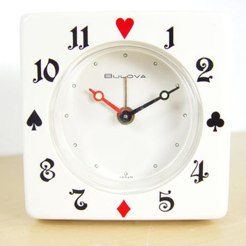 Bulova Playing Card Alarm Clock - Excellent Condition - Rare Winding Alarm
