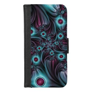 Into the Depth Blue Pink Abstract Fractal Art iPhone 8/7 Wallet Case