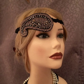 1920s Teardrop Art Deco 20s Style Gold Black Pewter Braided Adjustable Flapper Costume Headpiece Headband Headdress Braided Stretch (713)