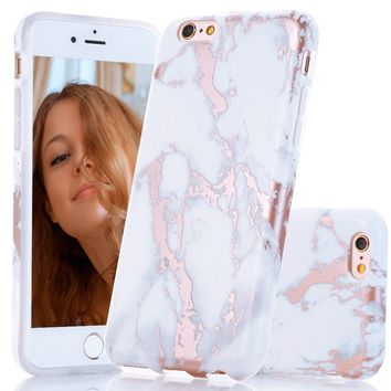 iPhone 6s Plus Case, Shiny Rose Gold White Marble Design, BAISRKE Clear Bumper Matte TPU Soft Rubber Silicone Cover Phone Case for Apple iPhone 6 Plus & 6s Plus