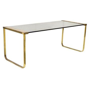 Pre Owned Mid Century Modern Brass And Glass Coffee Table