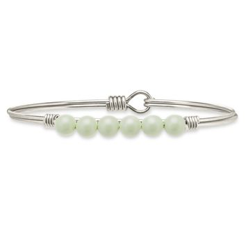 Crystal Pearl Bangle Bracelet in Pistachio