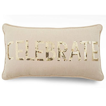 "Natural Gold Sequin ""Celebrate"" Throw Pillow"