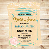 Printable mason jar bridal shower invitations watercolor flowers , Mason jar bridal shower invitations, Art Party Invitation