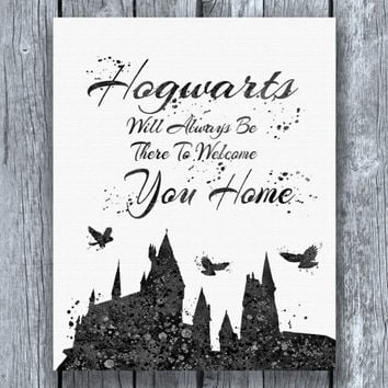 Hogwarts Quote Harry Potter Dark Watercolor Art Print Instant Download