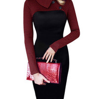 2016 Autumn Peter Pan Collar Long Sleeve Houndstooth Stitching Black Professional Midi Pencil Dress Plus Size