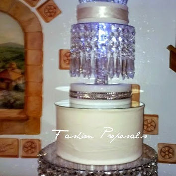 Wedding Crystal Chandelier Cake Stand. Crystal chandelier cascade dome wedding cake stand.