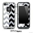 Silver Sparkle Print & Black/White Chevron Pattern Skin for the iPhone 5 or 4/4s LifeProof Case