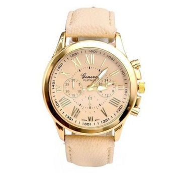 New Women's Fashion Geneva Roman Numerals Faux Leather Analog Quartz Wrist Watch (With Thanksgiving&Christmas Gift Box)(Size: 23cm, Color: Gold)