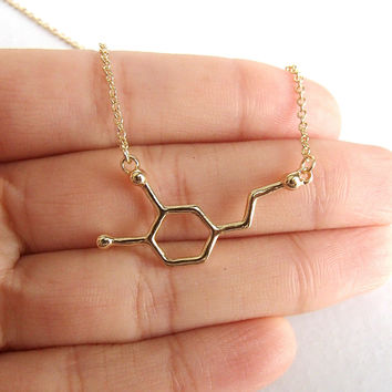 Dopamine Molecule Necklace - Gold & Silver - Unique Science DNA Chemical Structure Pendant Necklace