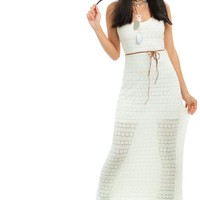 Vintage 90's The Good Witch Ivory Maxi Dress - XS/S
