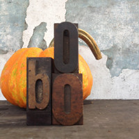 "Vintage Printer's Blocks/""BOO""/Halloween Decor/Scary Decor/Rustic Decor"