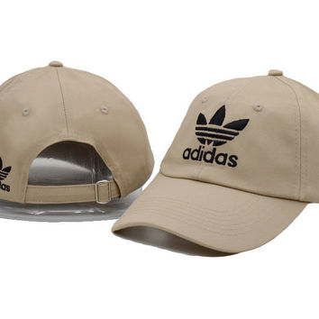Beige Adidas Logo Cotton Baseball Golf Sports Cap Hats