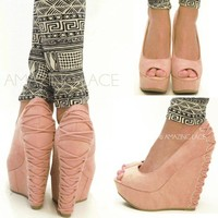 Amazing Pink Coral Back Lace Sexy Wedge Open Toe Faux Suede Shoes HIGH Fashion