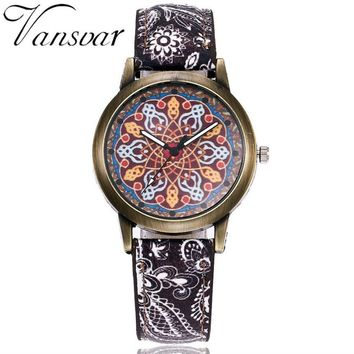 Custom Vansvar Ladys Luxury Casual Quartz Watch Custom Leather Band Analog Wrist Watch