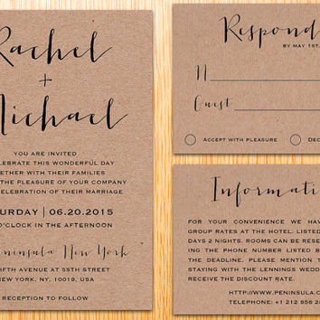 Digital Printable Kraft Paper Wedding Invitation Suite Classic Simple Modern Minimalist Wedding Set Custom Made DIY Wedding Invite Set