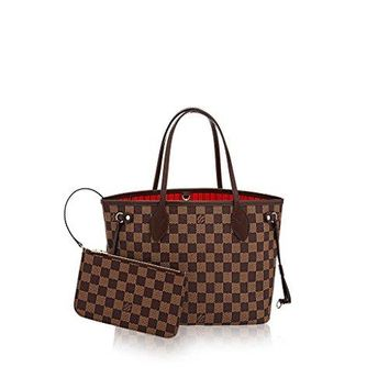 LV Women Shopping Leather Tote Louis Vuitton Damier Ebene Canvas Neverfull PM N41359