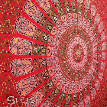 Tapestry, Mandala Hippie Tapestry, Hippie Boho Wall Hanging, Indian Bedspread Bed Sheet Cover, Bohemian Cotton Ethnic coverlet