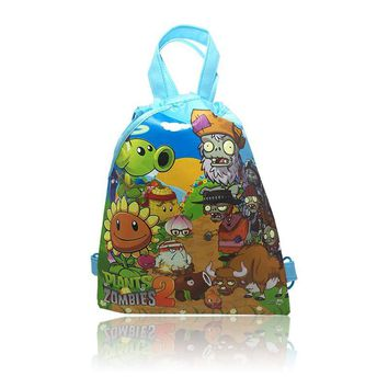 Free Shipping,1Pcs PLANTS VS ZOMBIES  Children Cartoon Logo Drawstring Backpack School Shoppping Bags,,34*27cm,Non Woven