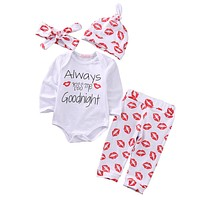 Spring Autumn Cute Newborn Baby Girls Boy Outfits Set Cotton Lip Print Romper Top Jumpsuit +pant Hat Headband 4Pcs Set