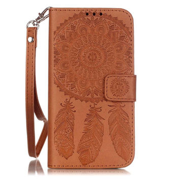 Dream Catcher PU Leather Wallet Flip Cover Case for Samsung Galaxy S7 S6 S5 S7 S6 Edge Edge Plus Phone Case W Carry Strap