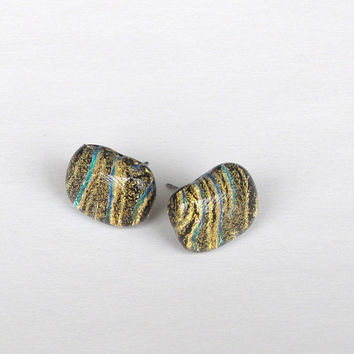 Fused Glass Earrings - Gold Dichroic Stud Earrings - Handmade Fused Glass Jewelry