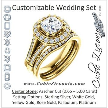 CZ Wedding Set, featuring The Shaundra engagement ring (Customizable Asscher Cut with Halo, Cathedral Prong Accents & Split-Pavé Band)