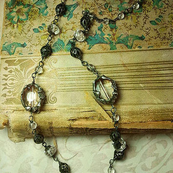 Romantic Vintage Style Sterling Silver & Faceted Clear Glass Choker with Solder Embellishment