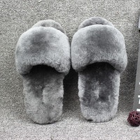 Natural Sheepskin home slippers Women Fur Slippers Men Winter Indoor Slipper Luxury Furry Lovers House Slippers Big Size 11Color