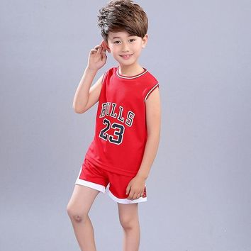 Children's clothing 2018 Amoi Boys cotton digital sports two-piece sleeveless vest + shorts 2-10 years old baby clothes
