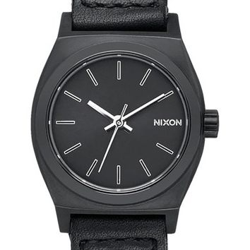 Women's Nixon 'The Small Time Teller' Leather Strap Watch, 26mm - Black