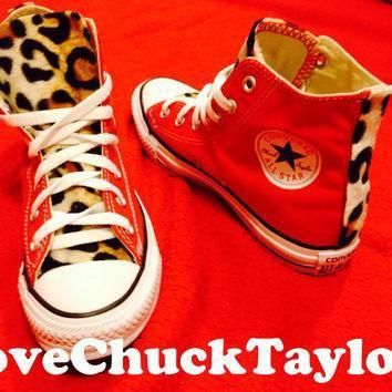 custom converse chuck taylor all stars with faux leopard fur