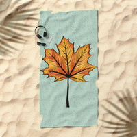 Yellow Orange Autumn Leaf On Blue | Decorative Botanical Art Beach Towel by borianagiormova