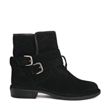 Dune Panzee Leather Ankle Boots with Shearling Style Detail - Black su