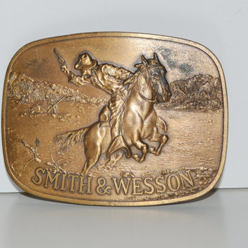 Smith and Wesson Brass Belt Buckle 1975 Smith & Wesson Buckle