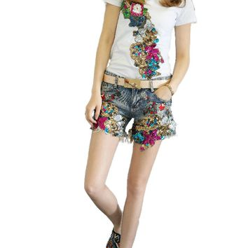 Denim Hot Short New Summer Fashion Slim Luxury Beads Sequins Women Shorts Flowers Embroidery High Waist Casual Denim Short Pants